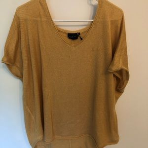 Urban Outfitters yellow vneck knit tee